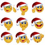Set of Beautiful Smiley Faces with Different Emotional Expressions. Seasonal Winter Design. 3D Vector Illustration stock illustration