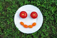 Cheerful smiley from fresh tomato on a white plate in the grass. Stock Photo