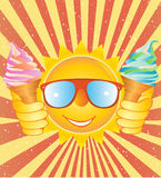 Cheerful smiley with ice cream on a vintage backgr Royalty Free Stock Photo