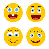 Cheerful smiley. Set of Emoticons. Emoji. Yellow cheerful circle smiley Stock Photo