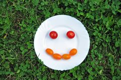Cheerful smiley from tomato on a white plate. stock image