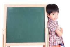 Cheerful smiling boy with blackboard Royalty Free Stock Images