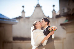 Cheerful and smiling bride Stock Photos