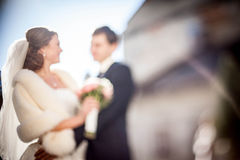 Cheerful and smiling bride Royalty Free Stock Photography
