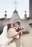 Cheerful and smiling bride Stock Photography