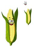 Cheerful smiling cartoon corn vegetable Royalty Free Stock Photos