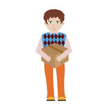 Cheerful smiling cartoon delivery man character is carrying a bu Royalty Free Stock Image