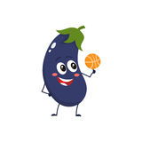 Cheerful smiling eggplant spinning a basketball on its finger Royalty Free Stock Image