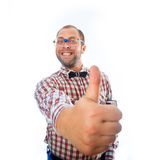 Cheerful smiling geek shows class mark Royalty Free Stock Images