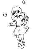 Cheerful smiling girl jumping. vector illustration Stock Image