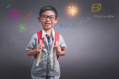Cheerful smiling little boy with big backpack. Looking at camera. School concept. Back to School stock image