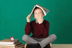 Cheerful smiling little school boy with big heavy books on his h Stock Images