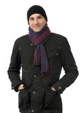 Cheerful smiling man in winter clothes Royalty Free Stock Image