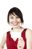 Cheerful smiling woman with blank business card Royalty Free Stock Photography