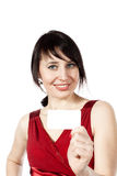 Cheerful smiling woman with blank business card Stock Images