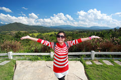 Cheerful smiling woman tourist Stock Photo