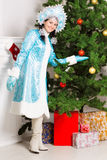 Cheerful snow maiden Royalty Free Stock Images