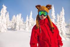 Cheerful snowboarder Stock Photos