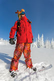 Cheerful snowboarder Stock Photography