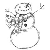 Cheerful Snowman. Illustration of a cheerful snowman wearing a scarf royalty free illustration