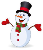 Cheerful snowman. Raising his arms royalty free illustration