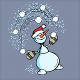 Cheerful snowman Royalty Free Stock Images