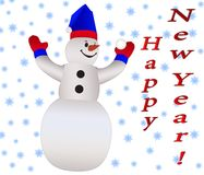 Cheerful snowman on the background. Greeting card happy new year.  royalty free illustration