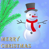 Cheerful snowman on a blue background. Cheerful snowman on a blue background with snowflakes, fir branches near Stock Images