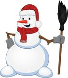 Cheerful snowman with a broom Royalty Free Stock Images