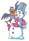 Cheerful Snowman Cartoon Stock Images