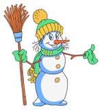 Cheerful Snowman Cartoon Stock Photography