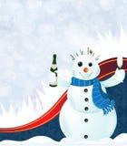 Cheerful snowman Stock Photography