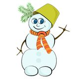 Cheerful snowman with green bucket on his head Stock Photo