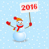 Cheerful snowman with the numbers 2016. On the blue background, vector illustration Royalty Free Stock Images