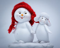 Cheerful snowman and penguin Stock Images