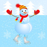 Cheerful snowman skating on ice Royalty Free Stock Photo