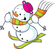 Cheerful snowman on skis Royalty Free Stock Images