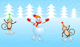 Cheerful snowman and two monkeys skate on the ice Royalty Free Stock Images