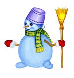A cheerful snowman with white coal eyes with a scarf and broom i. N hand, hand-painted with gouache, illustration stock illustration