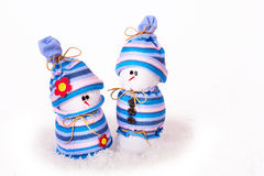 Cheerful snowmen Christmas ornaments isolated Royalty Free Stock Image