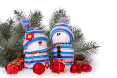 Cheerful snowmen Christmas ornaments isolated Stock Images