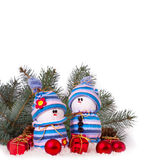 Cheerful snowmen Christmas ornaments isolated Stock Photo