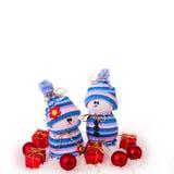 Cheerful snowmen Christmas ornaments isolated Stock Photos
