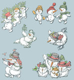 Cheerful snowmen set Stock Images