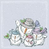 Cheerful snowmen. Vector drawing of the happy snowmen family royalty free illustration