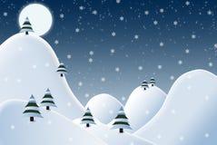 Cheerful snowy night winter scene illustration Royalty Free Stock Photos