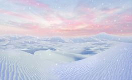 Cheerful snowy winter scene illustration Royalty Free Stock Photos