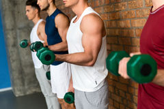 Cheerful sportsmen exercising with weights Royalty Free Stock Images