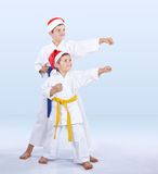Cheerful sportsmen are training beat punch arm Royalty Free Stock Images