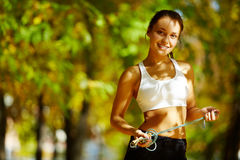 Cheerful sportswoman Stock Photo